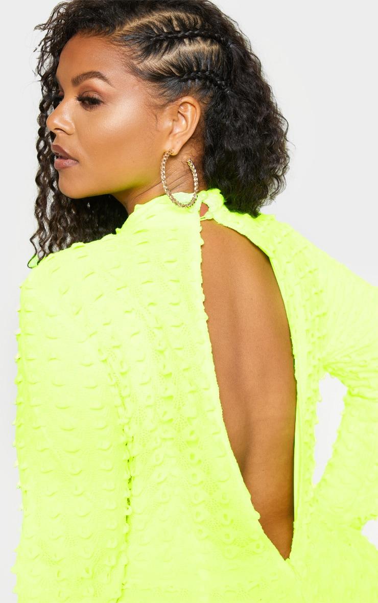 Plus Neon Yellow Crochet Unitard 5