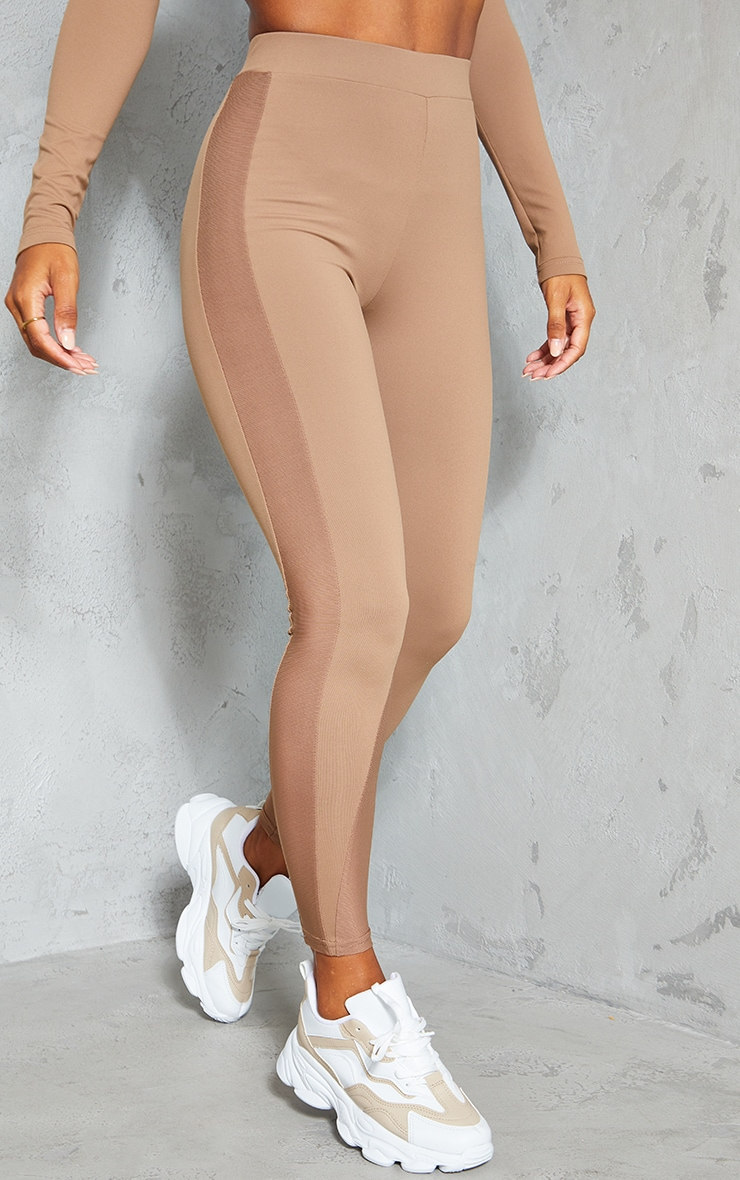 Brown High Waist Mesh Side Gym Leggings 2