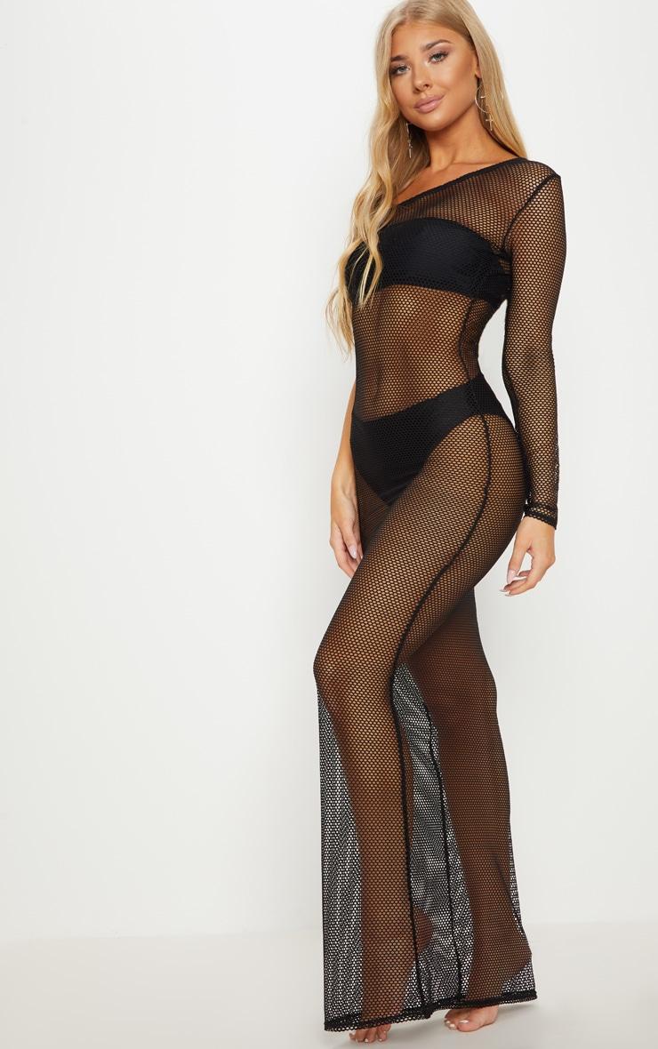 Black Fishnet One Sleeve Beach Dress 4