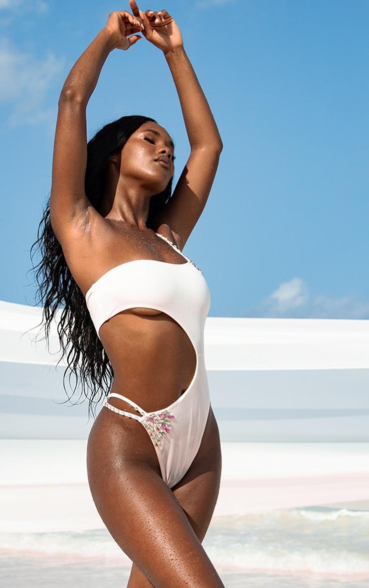 White Asymmetric One Shoulder Swimsuit 1