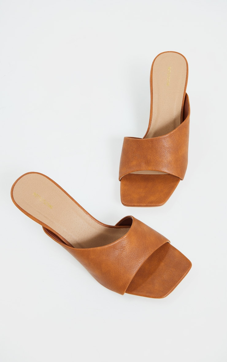 Tan Asymmetric Low Heel Mules 4