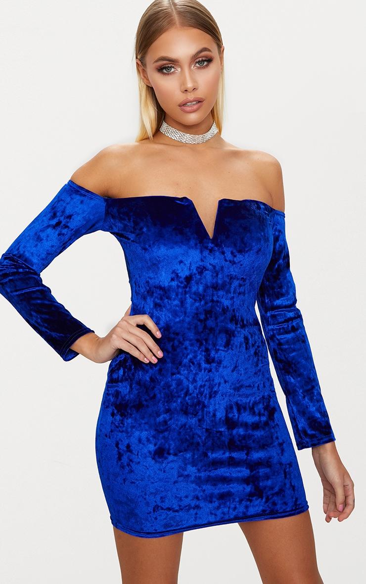 Cobalt Velvet V Bar Bardot Bodycon Dress 1