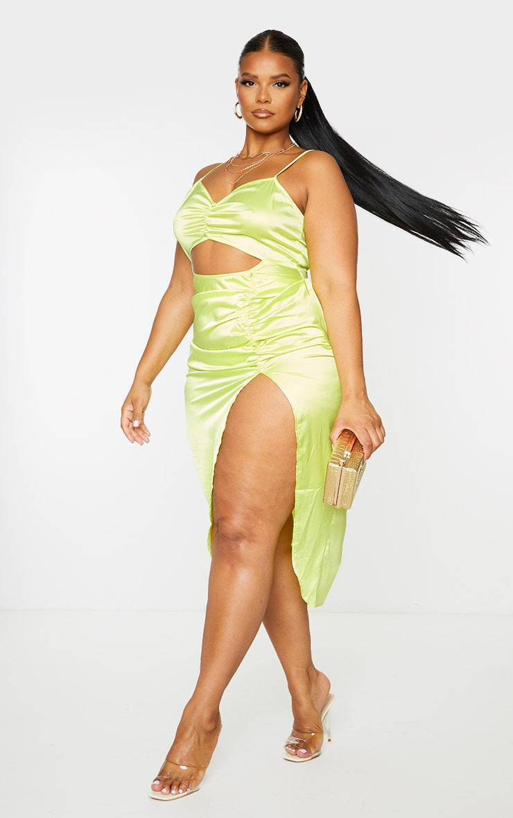Plus Lime Satin Cut Out Ruched Midaxi Dress 3