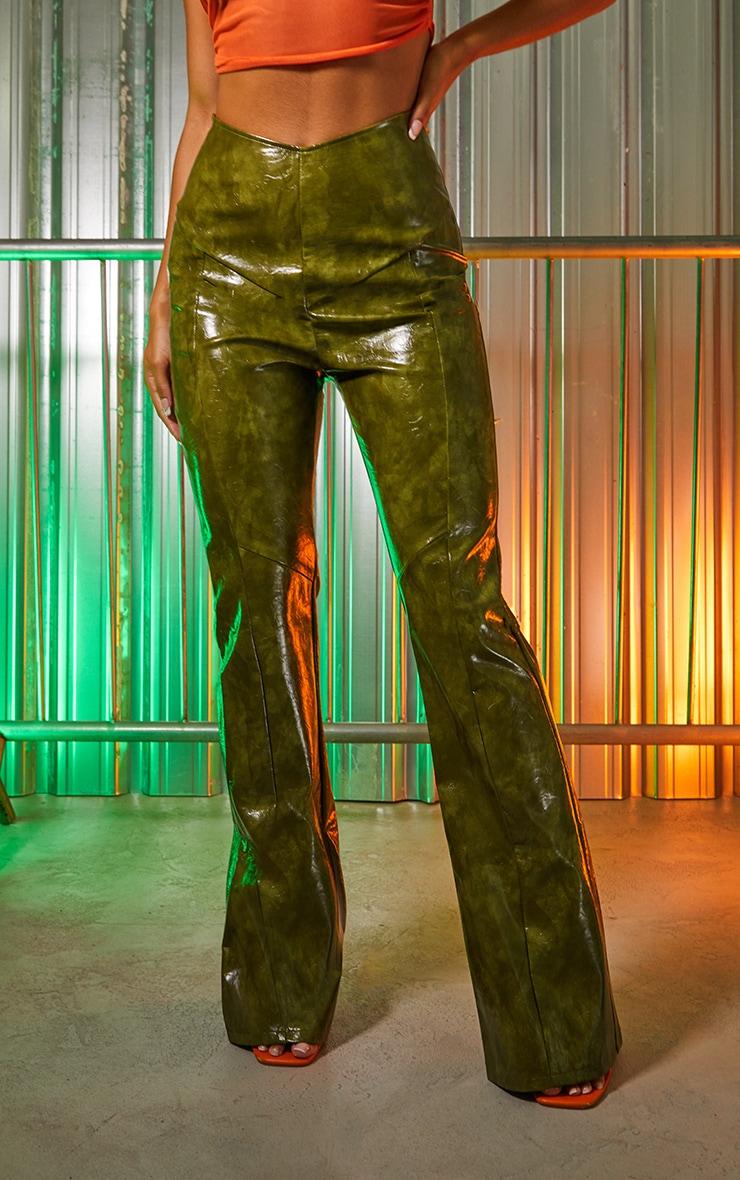 Green Vinyl Panelled Straight Leg Trousers 2