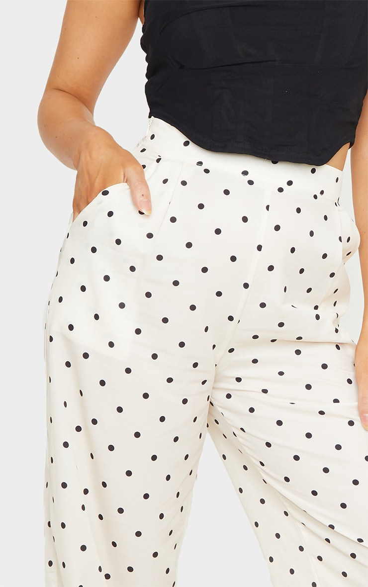 Cream Polka Dot Print Wide Leg Pants 5