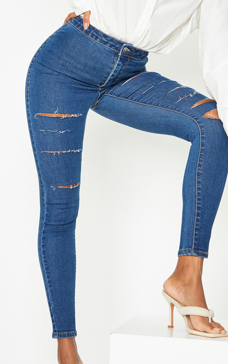 PRETTYLITTLETHING Mid Blue Wash Rip Distressed Disco Skinny Jeans 4