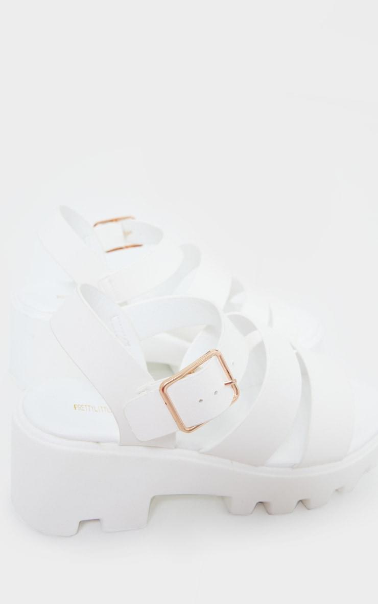 White Triple Strap Chunky Sandals 3