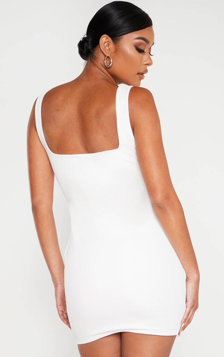 White Sleeveless Binding Detail Hook And Eye Bodycon Dress 2
