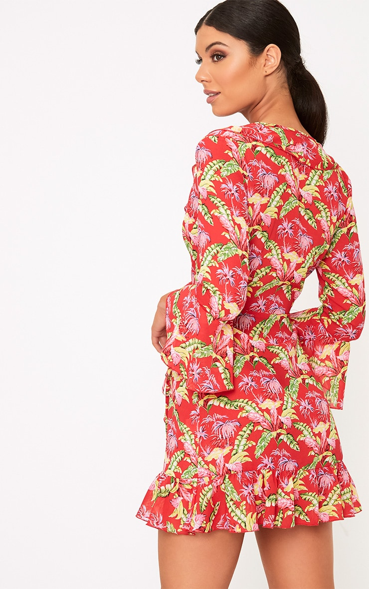 Ivy Red Floral Print Frill Wrap Tea Dress  2