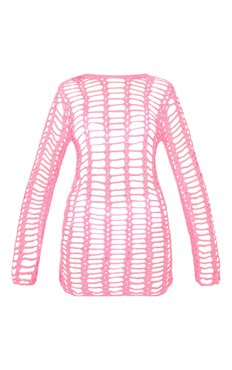 Hot Pink Crochet Ladder Detail Long Sleeve Dress 3