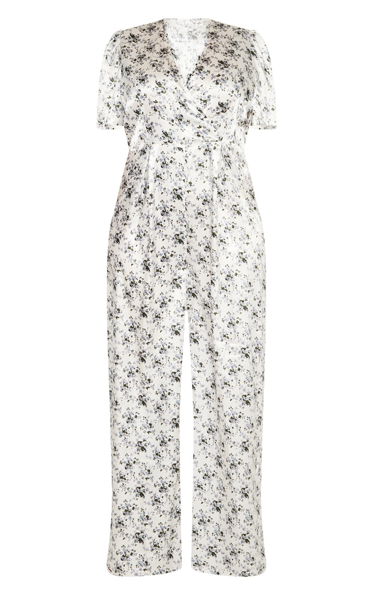 Plus White Floral Print Woven Wrap Wide Leg Jumpsuit  3