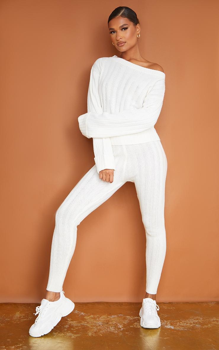 Cream Bardot Sweater And Leggings Lounge Set 1