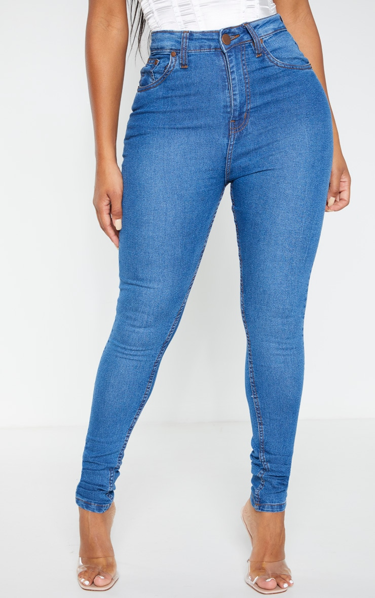 Shape Mid Wash High Waist Super Stretch Skinny Jeans 2