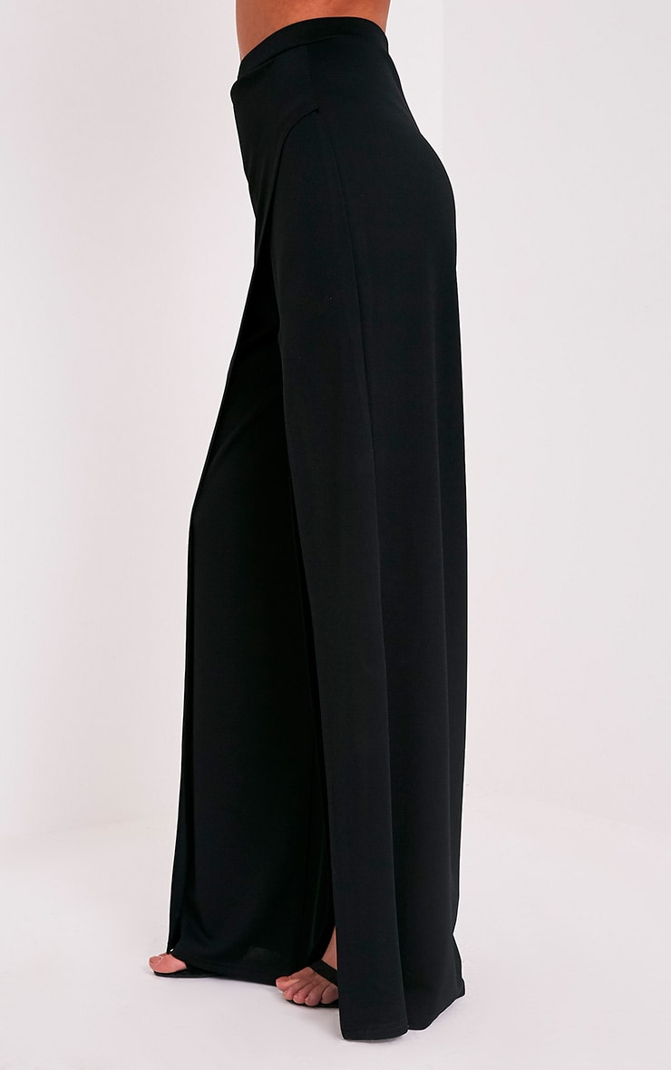 Chanelle Black Wrap Split Trousers 4