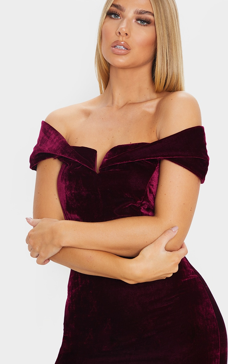 Burgundy Velvet Bardot V Bar Midi Dress 5