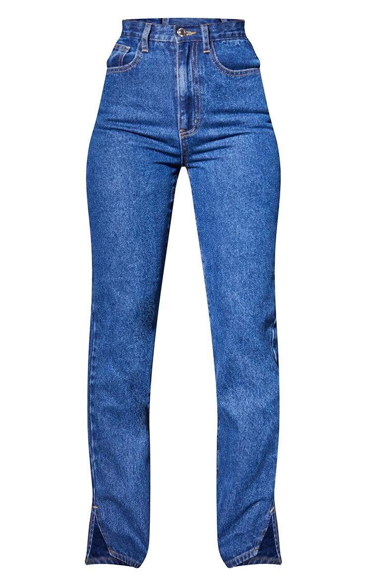 Recycled Mid Blue Wash Basic Split Hem Jeans 5