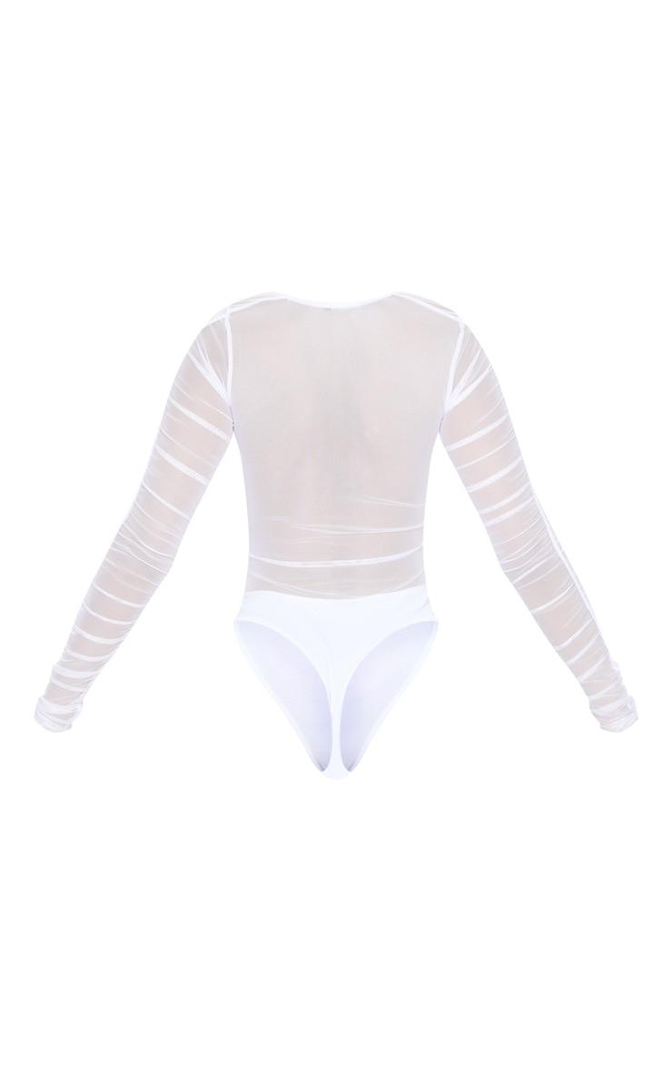 White Mesh Ruched Square Neck Bodysuit 6