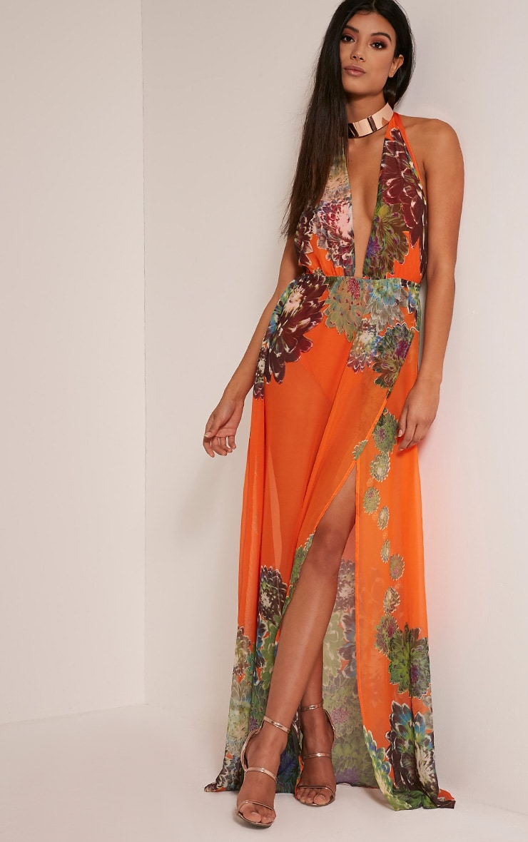 Alina Bright Orange Tropical Print Plunge Maxi Dress 1