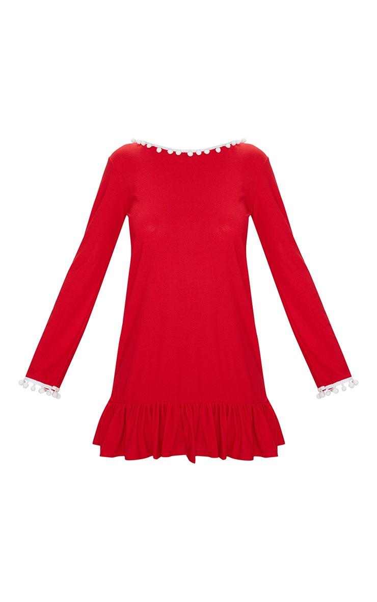 Red Pom Pom Trim Backless Smock Dress 3