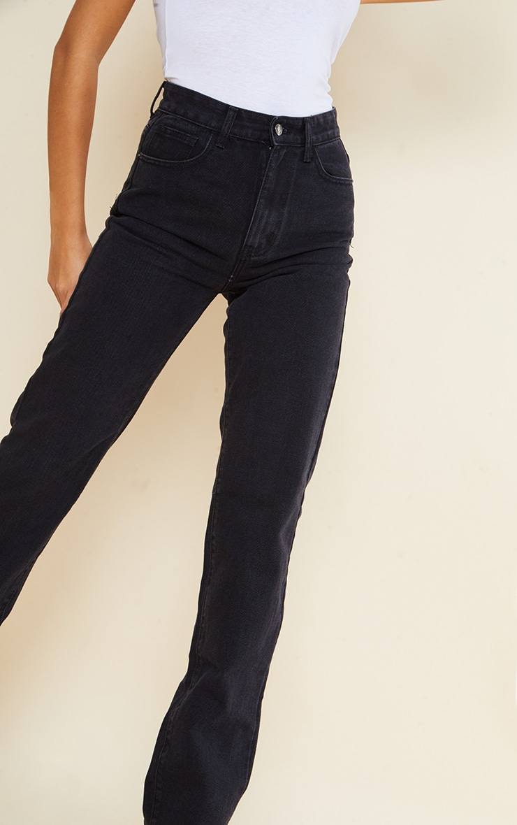 PRETTYLITTLETHING Tall Washed Black Long Leg Straight Jeans 4