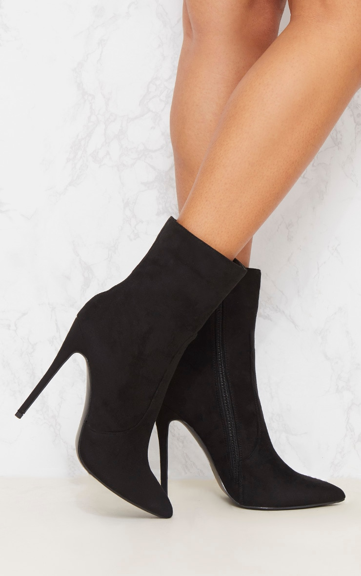 Black Faux Suede High Ankle Boot 2