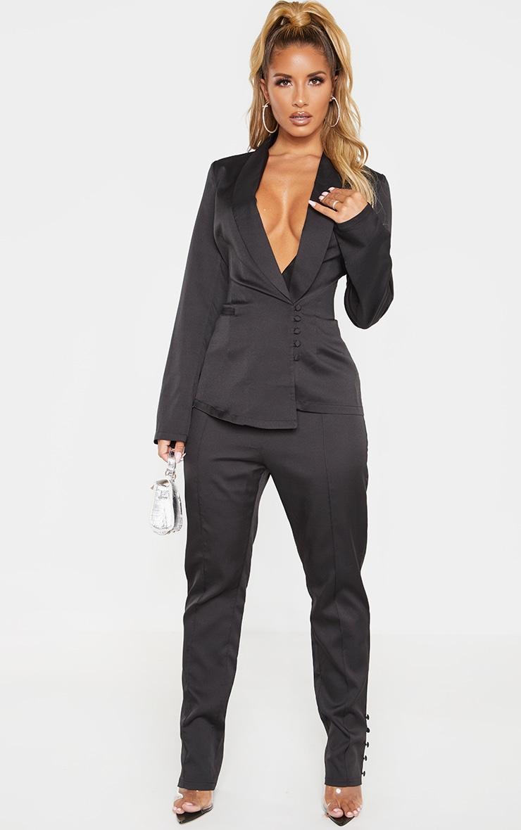 Black Woven Collar Button Detail Blazer  4