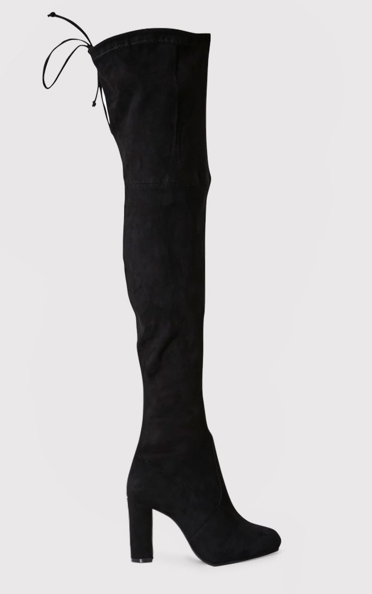 Bess Black Faux Suede Heel Thigh Boots 2