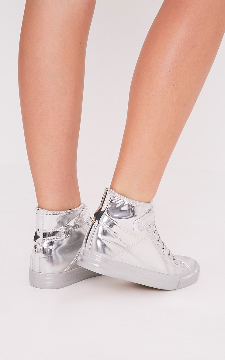 Oona Silver Metallic High Top Sneakers 2