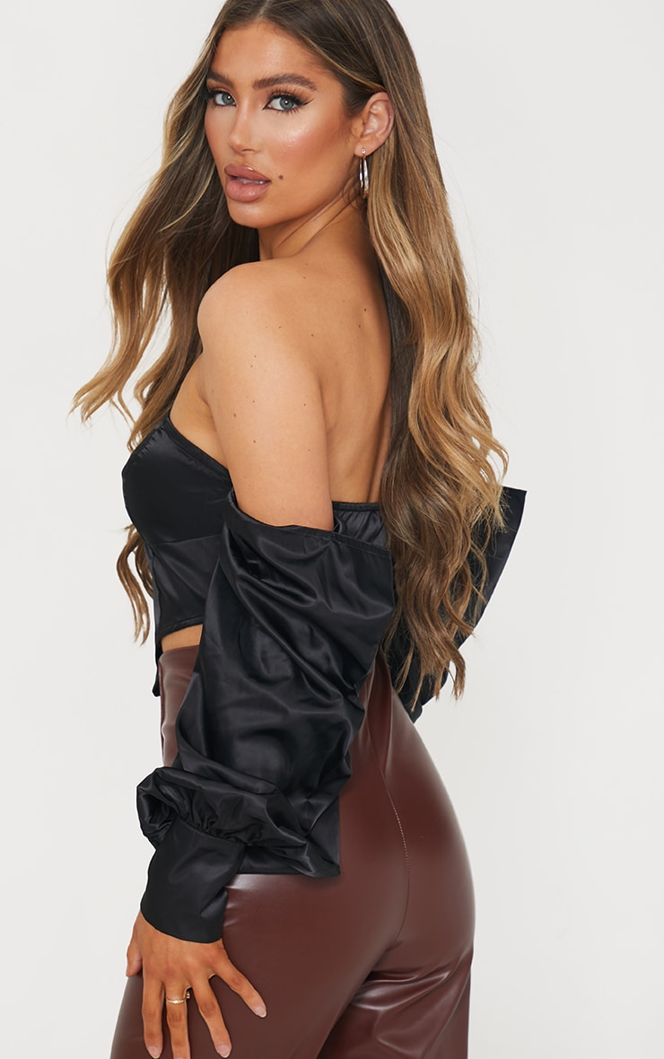 Black Shell Bardot Draped Long Sleeve Pointed Hem Crop Top 2