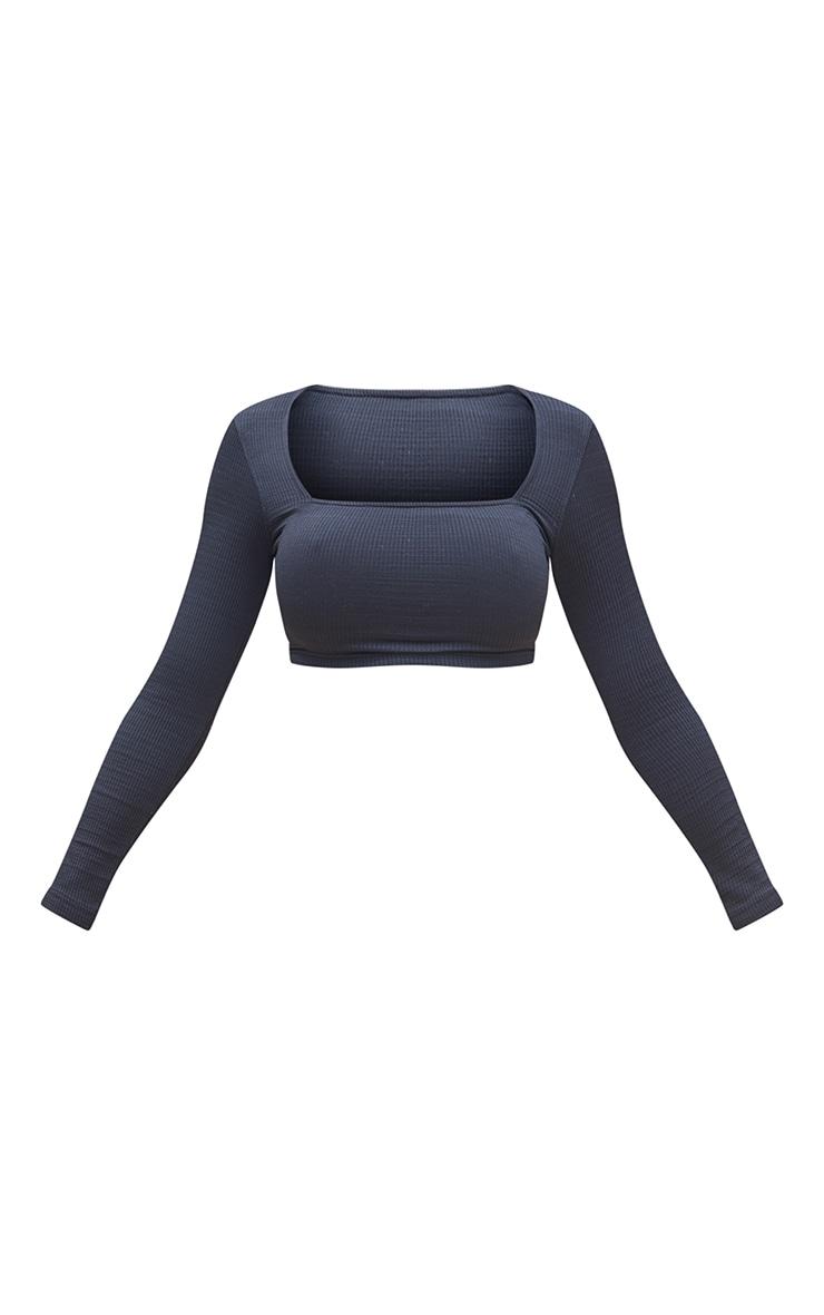 Black Stretch Rib Square Neck Backless Tie Crop Top 5