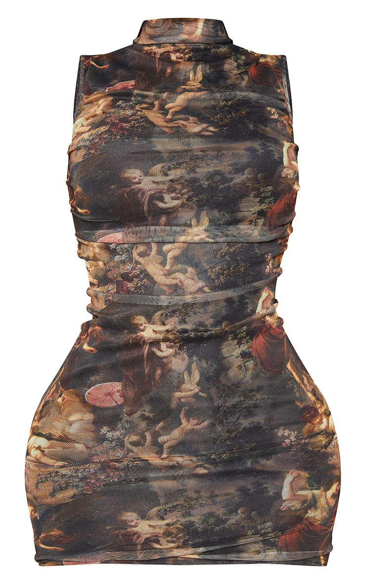Shape Brown Renaissance Print High Neck Sleeveless Bodycon Dress 5