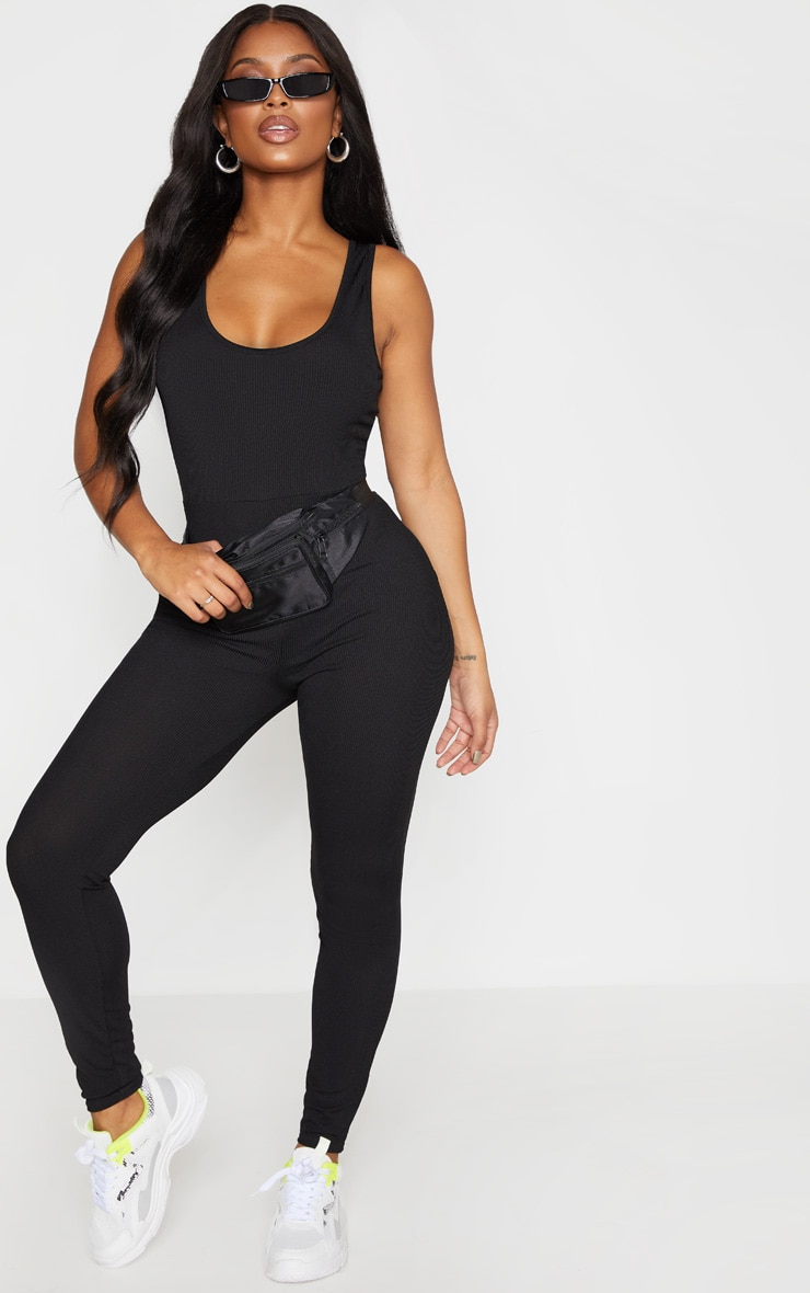 Shape Black Ribbed Scoop Neck Jumpsuit 1