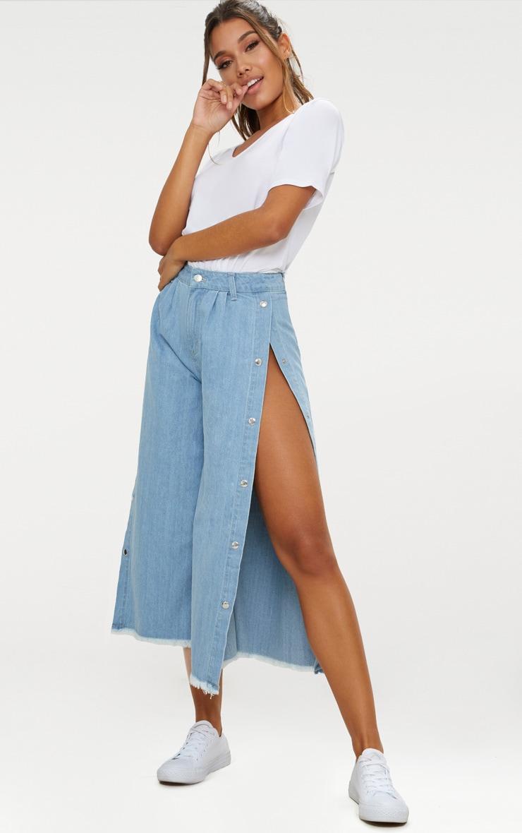 Light Wash Popper Side Wide Leg Denim Culottes 1