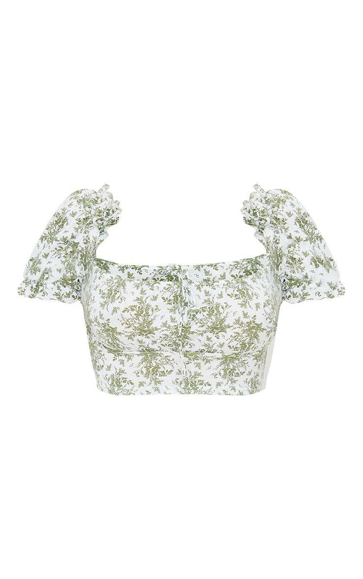 Sage Green Floral Printed Jersey Puff Sleeve Frill Edge Crop Top 5