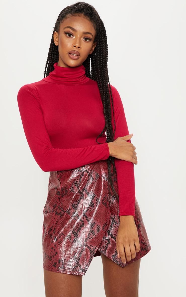 Deep Burgundy Roll Neck Long Sleeve Bodysuit 1