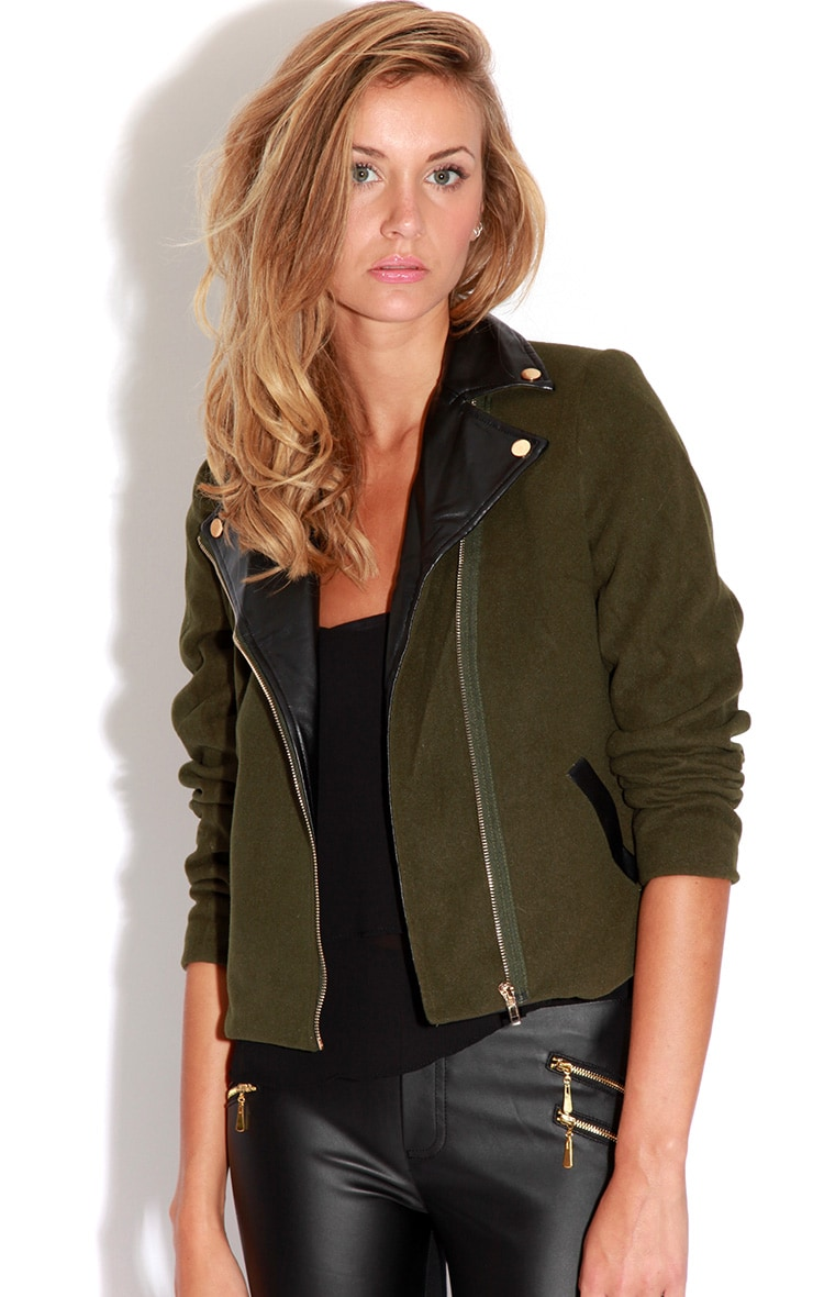 Jessica Khaki Biker Jacket 4