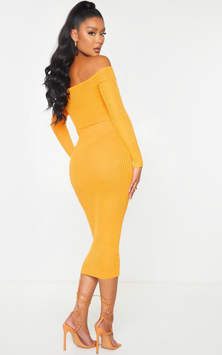 Orange Sheer Knit Bardot Midi Dress 1
