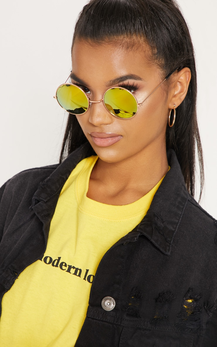 Orange Round Metal Sunglasses 1