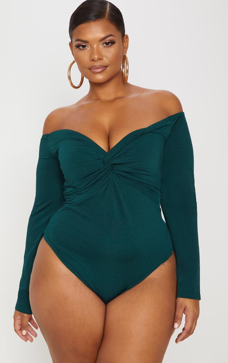 Plus Slinky Emerald Green Twist Front Bardot Bodysuit 2