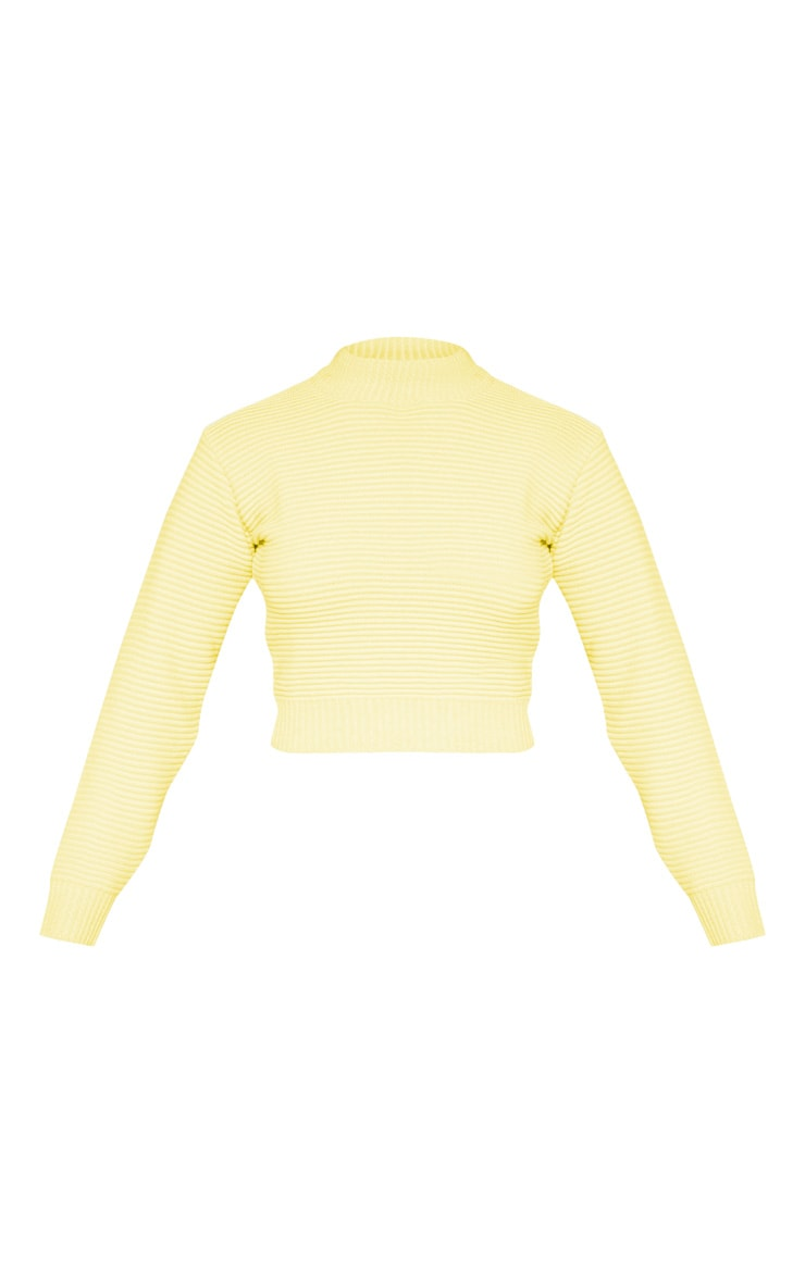 Pastel Yellow Ribbed Cropped Knitted Jumper  3