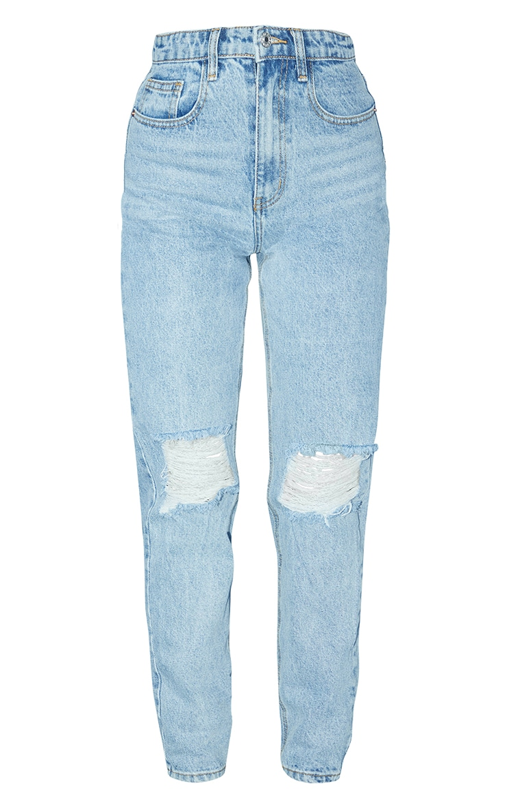 PRETTYLITTLETHING Light Blue Wash Knee Rip Mom Jeans 3