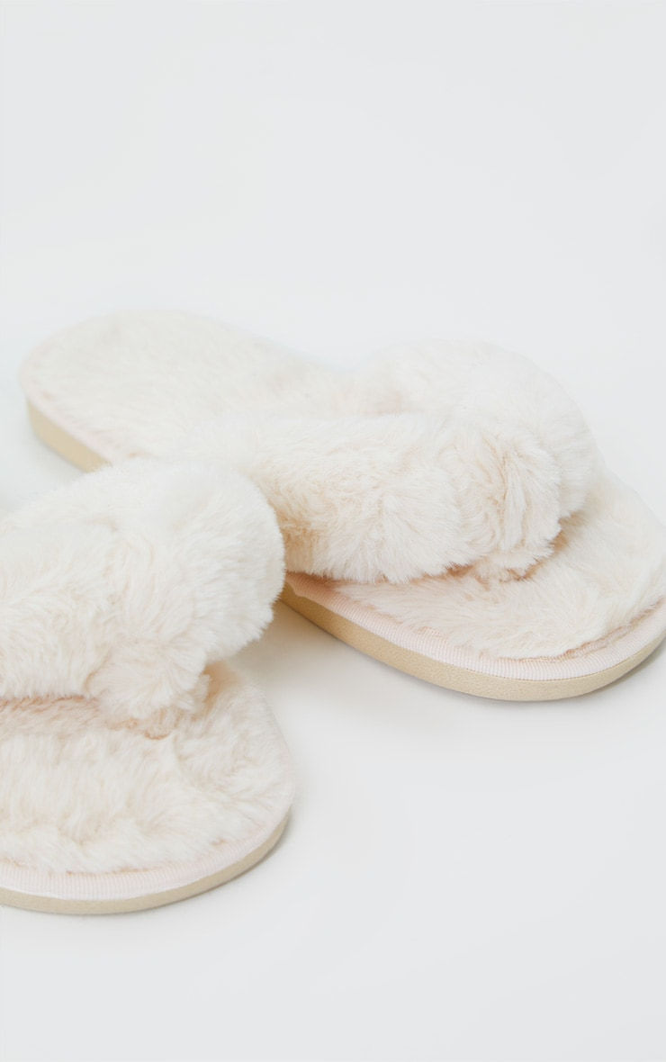 Cream Fluffy Flip Flop Slippers 3