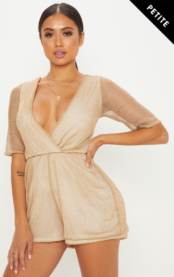 Petite Gold Knitted Wrap Front Playsuit