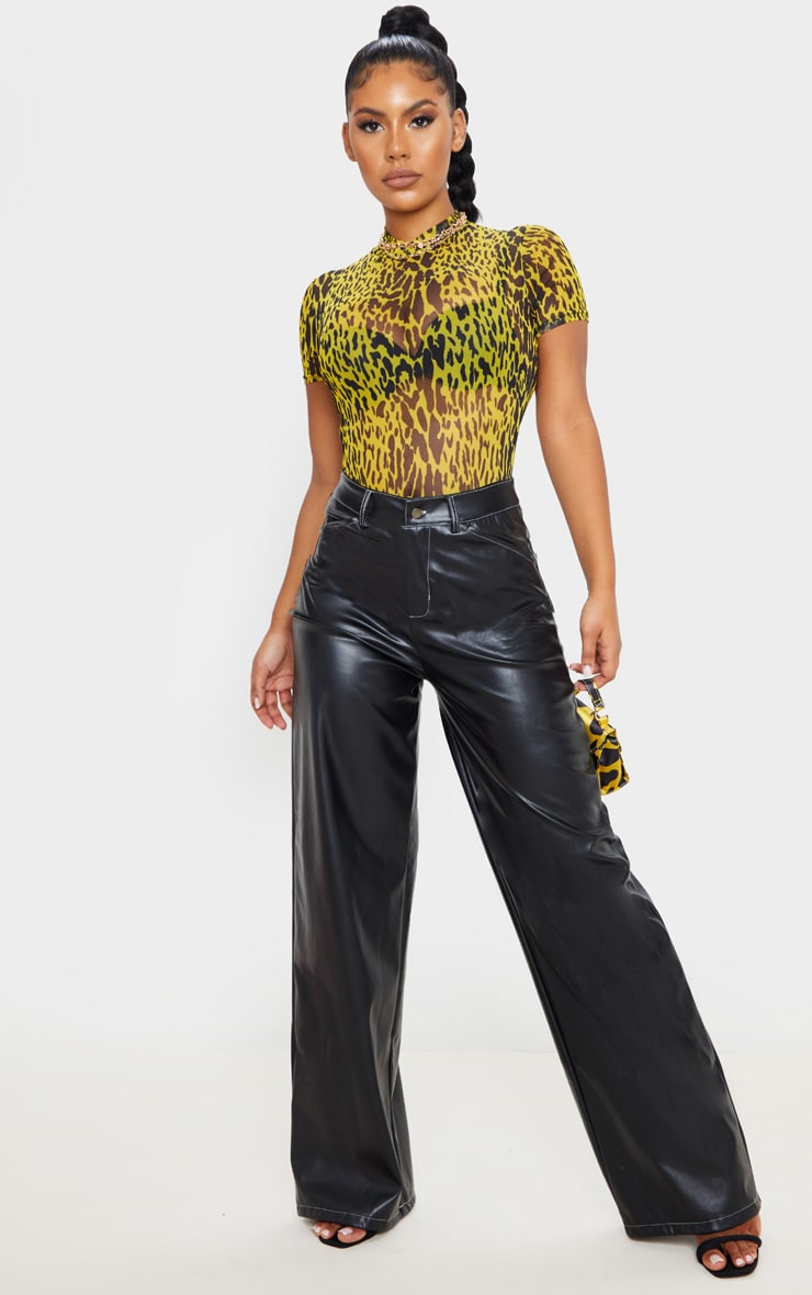 Yellow Leopard Print Mesh High Neck Short Sleeve Bodysuit 5
