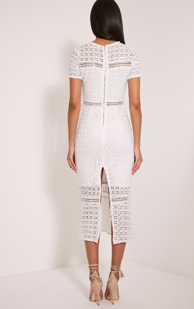 Midira White Crochet Lace Midi Dress 2
