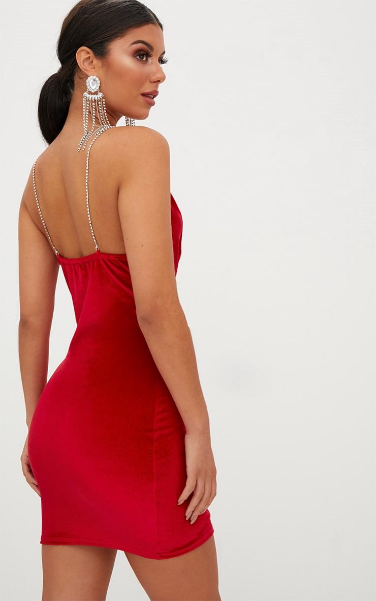Red Velvet Cowl Neck Diamante Strap Bodycon Dress 2