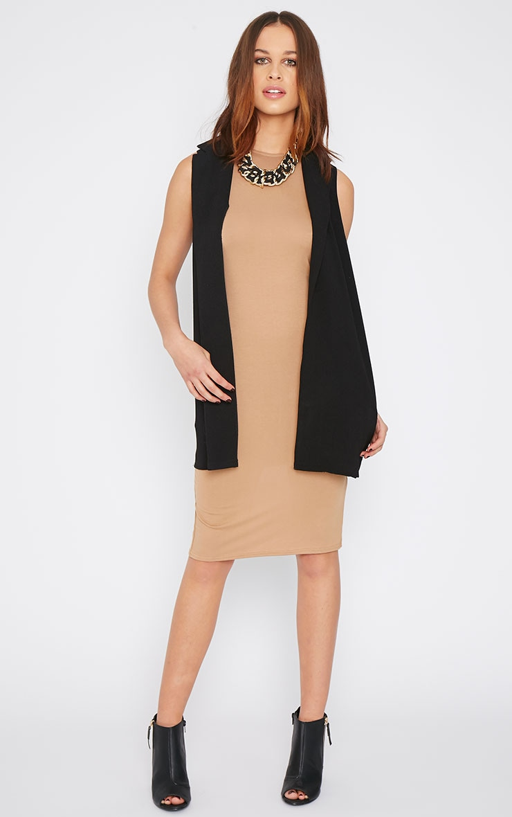 Basic Camel Racer Neck Midi Dress 4