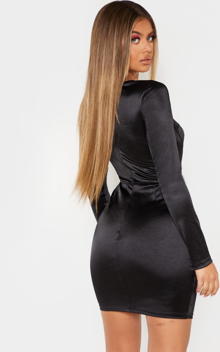 Black Satin Cup Detail Bodycon Dress 2