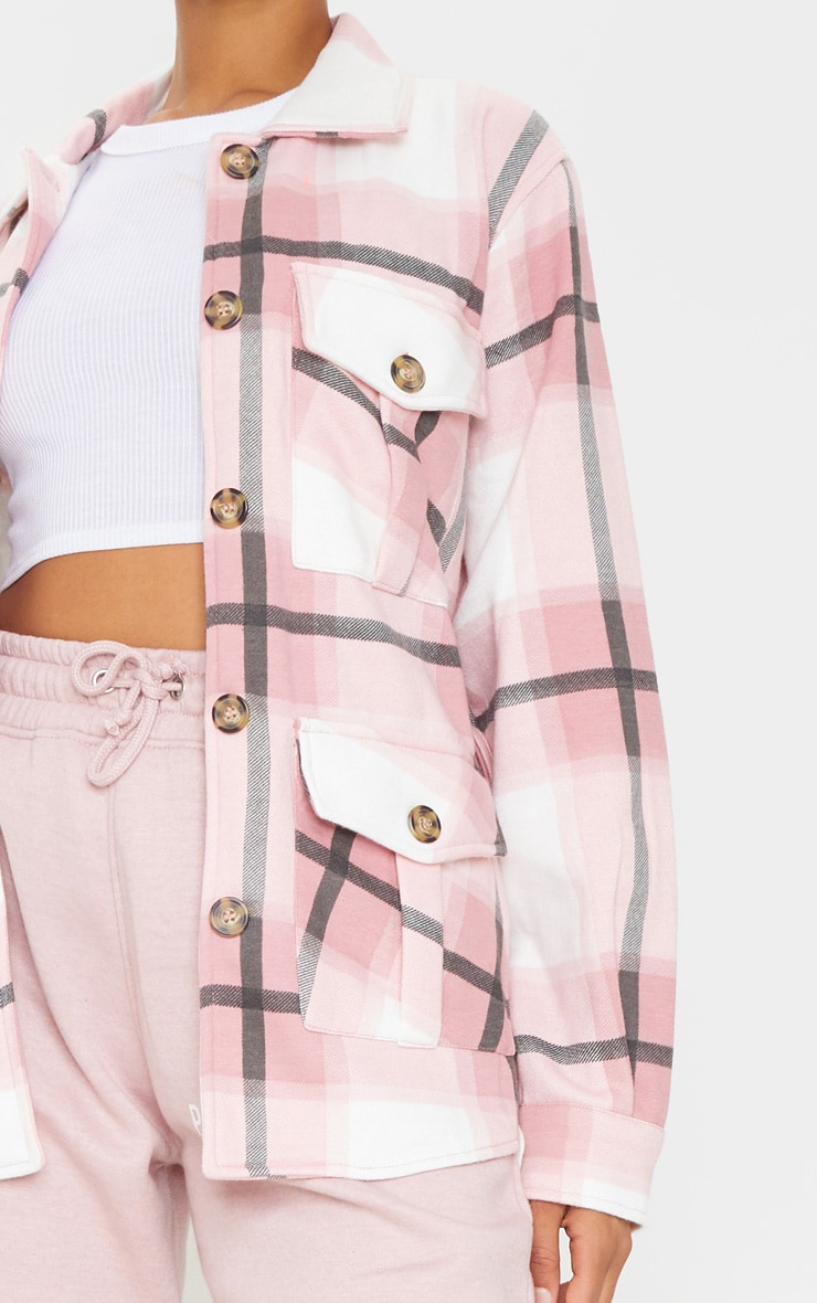 Pink Checked Belted Dipped Hem Shacket 4