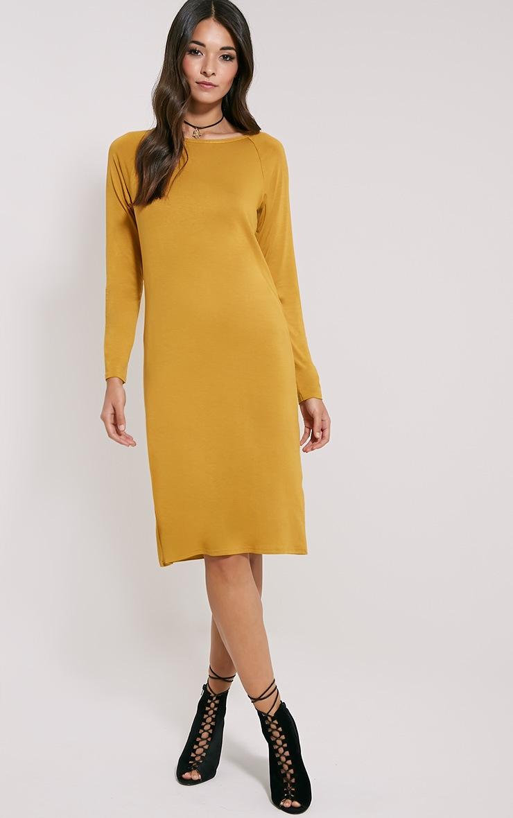 Jean Mustard Long Sleeve Jersey Midi Dress 1